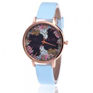 Floral Letter Face Faux Leather Strap Watch