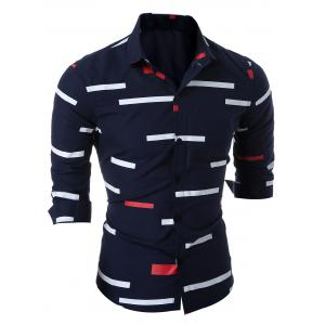 Slim Fit Geo-print Long Sleeve Shirt