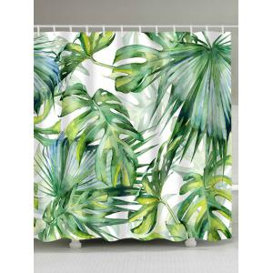 Watercolor Fern Plants Bath Shower Curtain with Hooks