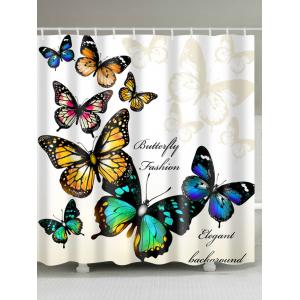 Eco-Friendly Butterfly Print Shower Curtain For Bathroom - Beige - W71 Inch * L79 Inch