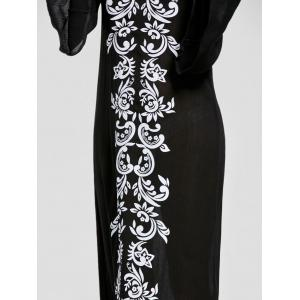 Bandana Floral Flare Sleeve Longline Dress - BLACK L