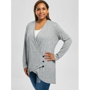 Plus Size Button Fly Heather Longline Top -
