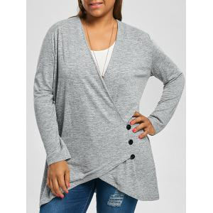 Plus Size Button Fly Heather Longline Top