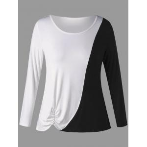 Plus Size Two Tone Shirred Long Sleeve T-shirt