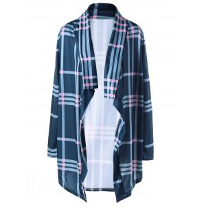 Shawl Collar Checked Drape Cardigan
