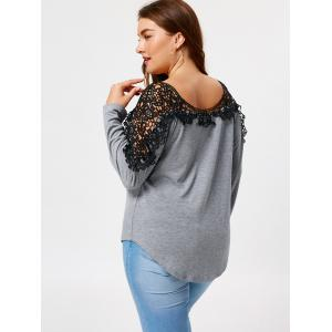 Lace Insert Plus Size Long Sleeve T-shirt -