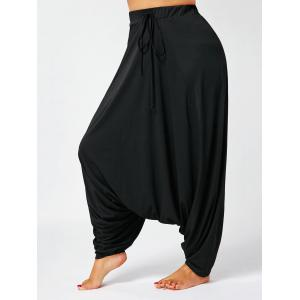 Drawstring Plus Size Drop Bottom Harem Pants
