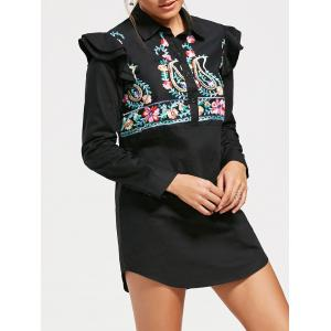 Paisley Embroidery Long Sleeve Tunic Shirt