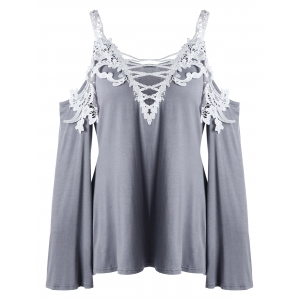 Plus Size Lace Up Cold Shoulder T-shirt