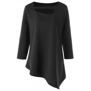 Asymmetrical Hollow Out Plus Size T-shirt
