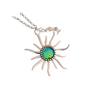 Mermaid Scales Sun Pendant Necklace - Vert