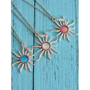 Mermaid Scales Sun Pendant Necklace -