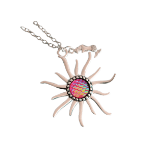 Mermaid Scales Sun Pendant Necklace - rose