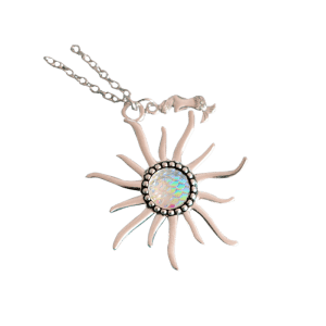 Mermaid Scales Sun Pendant Necklace - Blanc