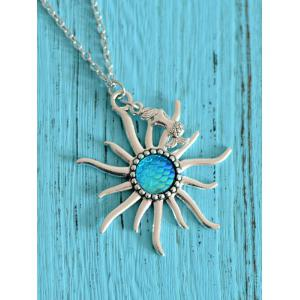 Mermaid Scales Sun Pendant Necklace
