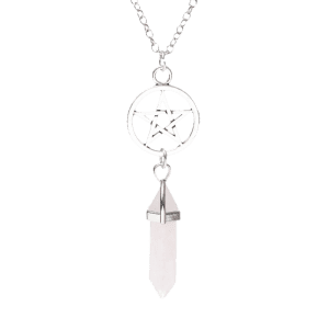 Natural Stone Star Circle Pendant Necklace