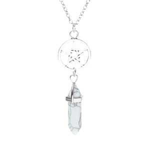 Natural Stone Star Circle Pendant Necklace - White