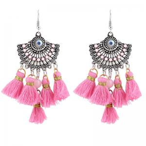 Vintage Tassel Hook Chandelier Earrings - Pink