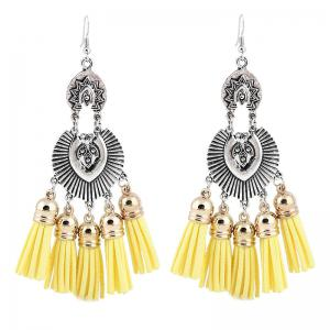 Face Engraved Tassel Chandelier Hook Earrings