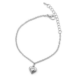 Stainless Steel Charm Heart Chain Bracelet - Silver
