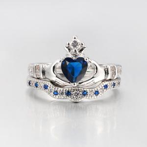 Faux Sapphire Crown Heart Finger Ring Set