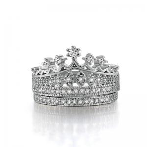 Rhinestone Crown Sparkly Finger Ring Set - SILVER 6