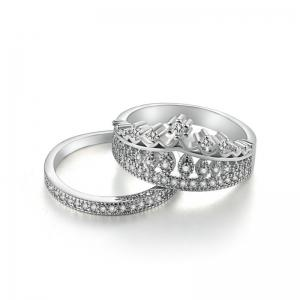 Rhinestone Crown Sparkly Finger Ring Set - Silver - 8