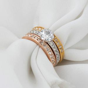 Rhinestoned Round Finger Ring Set - COLORMIX 6