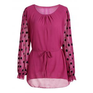 Plus Size Polka Dot  Long Sleeve Chiffon Top