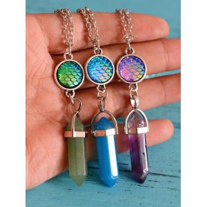 Natural Stone Mermaid Scale Collarbone Necklace -