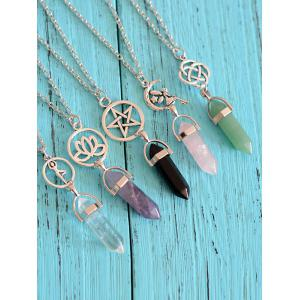 Natural Stone Geometric Collarbone Pendant Necklace - PINK