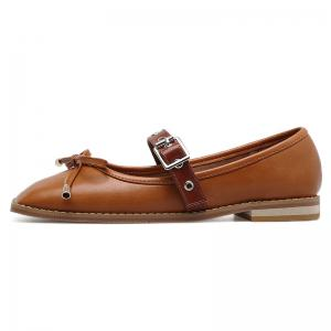 Square Toe Bowknot Mary Jane Flats - BROWN 38