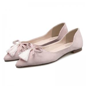 Tassels Pointed Toe Flat Shoes - Rose Clair 37