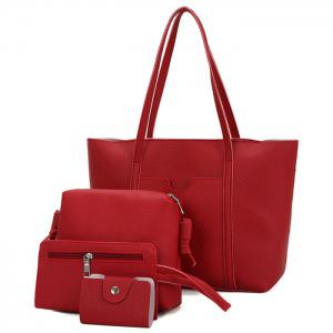 Faux Leather 4 Pieces Shoulder Bag Set - Red - 42