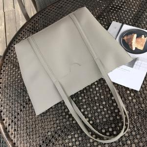 Faux Leather 4 Pieces Shoulder Bag Set - GRAY