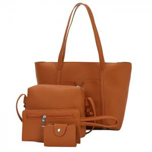 Faux Leather 4 Pieces Shoulder Bag Set - Brown