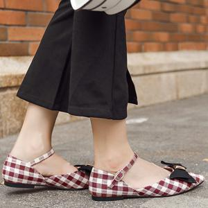 Pointe Toe Bowknot Plaid Flats - Rouge 39