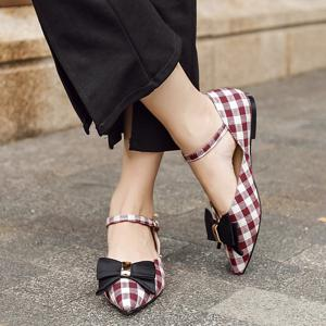 Pointe Toe Bowknot Plaid Flats - Rouge 37