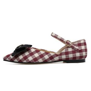 Pointe Toe Bowknot Plaid Flats - Rouge 38