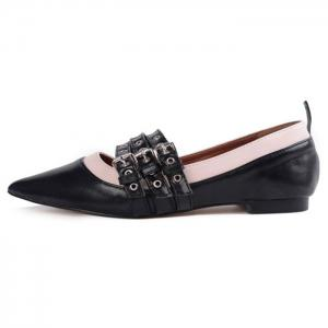 Triple Grommet Buckle Strap Point Toe Flats - Noir 40