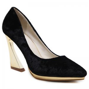 High-polish Heel Faux Suede Pumps