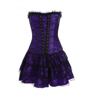 Lace Up Corset Two Piece Dress - Purple - S