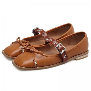 Square Toe Bowknot Mary Jane Flats - Brun 39