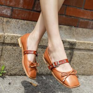 Square Toe Bowknot Mary Jane Flats - Brun 37