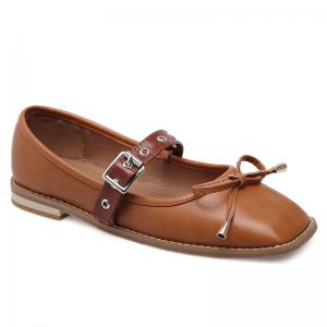 Square Toe Bowknot Mary Jane Flats - Brown - 37