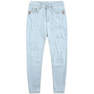Zip Fly Light Wash Distressed Jeans
