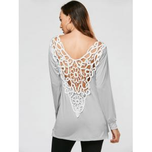 Lace Crochet Side Slit Tunic T-shirt - GRAY S