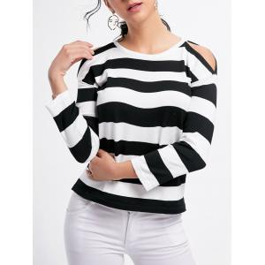 Striped Crew Neck Cold Shoulder Knitwear