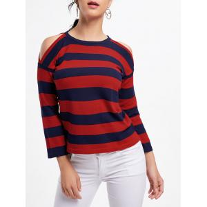 Striped Crew Neck Cold Shoulder Knitwear - Red - One Size