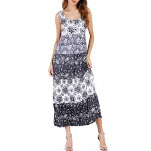 Bohemian Floral Print Midi Dress - Black - 2xl